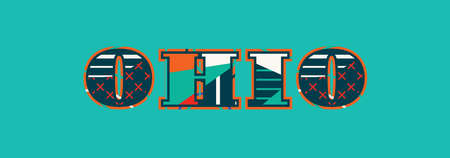 The word OHIO concept written in colorful abstract typography.