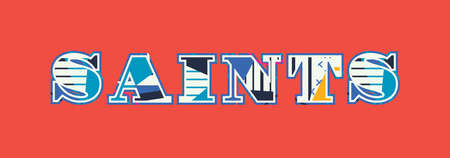 The word SAINTS concept written in colorful abstract typography. Иллюстрация