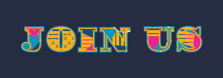 The word JOIN US concept written in colorful abstract typography.