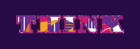 The word think concept written in colorful abstract typography.