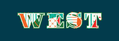 The word west concept written in colorful abstract typography. Illustration