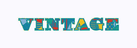 The word vintage concept written in colorful abstract typography. Ilustração
