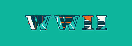 The word WWII concept written in colorful abstract typography.
