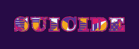 The word suicide concept written in colorful abstract typography.