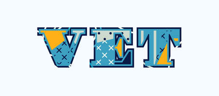 The word vet concept written in colorful abstract typography.  イラスト・ベクター素材