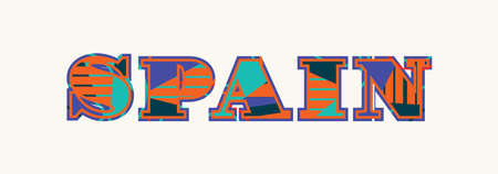 The word Spain concept written in colorful abstract typography.