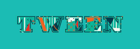 The word tween concept written in colorful abstract typography. Illustration