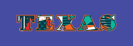 The word Texas concept written in colorful abstract typography.