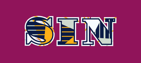 The word SIN concept written in colorful abstract typography. Vector EPS 10 available. Vettoriali