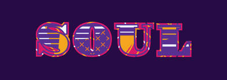 The word SOUL concept written in colorful abstract typography. Vector EPS 10 available. Çizim