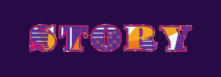 Das Wort GESCHICHTE-Konzept geschrieben in der bunten abstrakten Typografie. Vektor EPS 10 verfügbar. Vektorgrafik