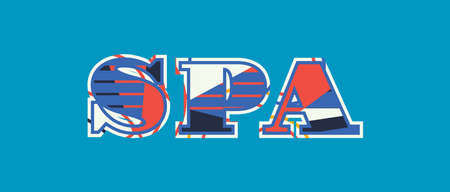 The word SPA concept written in colorful abstract typography. Vector EPS 10 available.