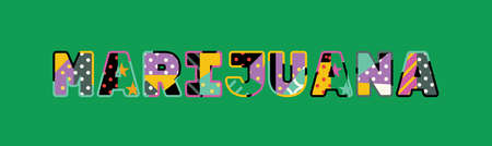 The word MARIJUANA concept written in colorful abstract typography. Illustration