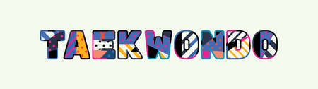 The word TAEKWONDO concept written in colorful abstract typography.