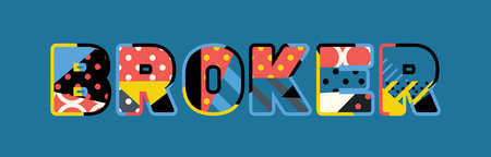 The word BROKER concept written in colorful abstract typography.