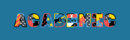 The word ACADEMIC concept written in colorful abstract typography.