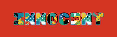 The word INNOCENT concept written in colorful abstract typography. Illustration