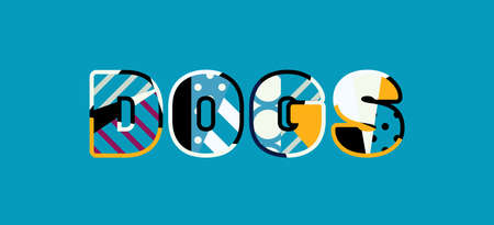 The word DOGS concept written in colorful abstract typography.