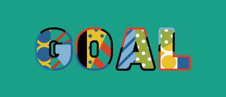 The word GOAL concept written in colorful abstract typography. Çizim
