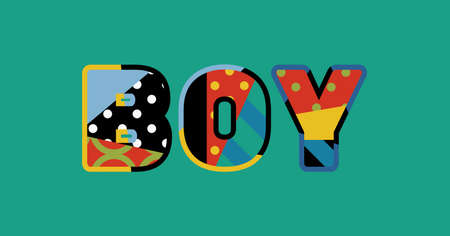 The word BOY concept written in colorful abstract typography. Stock Illustratie