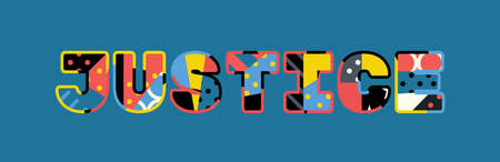 The word JUSTICE concept written in colorful abstract typography.