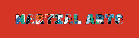 The word MARTIAL ARTS concept written in colorful abstract typography.