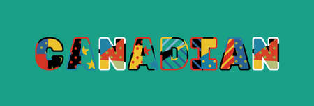 The word CANADIAN concept written in colorful abstract typography.