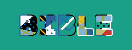 The word BIBLE concept written in colorful abstract typography.