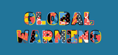 The word GLOBAL WARMING concept written in colorful abstract typography.