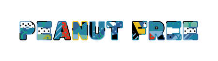 The words PEANUT FREE concept written in colorful abstract typography.
