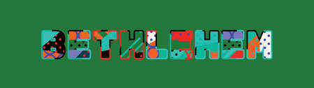 The word BETHLEHEM concept written in colorful abstract typography.