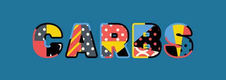 The word CARBS concept written in colorful abstract typography. Illustration