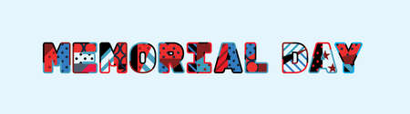 The words MEMORIAL DAY concept written in colorful abstract typography.