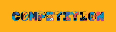 The word COMPETITION concept written in colorful abstract typography. Illusztráció