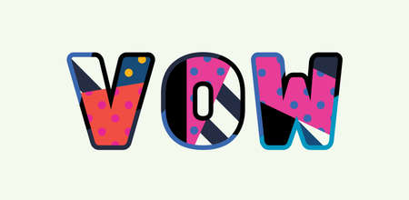 The word VOW concept written in colorful abstract typography.