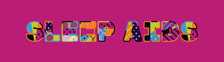 The words SLEEP AIDS concept written in colorful abstract typography.