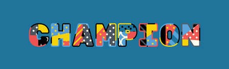 The word CHAMPION concept written in colorful abstract typography.