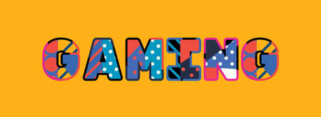 The word GAMING concept written in colorful abstract typography.