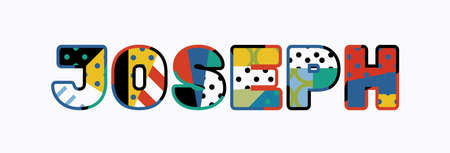 The name JOSEPH concept written in colorful abstract typography.