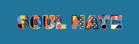 The words SOUL MATE concept written in colorful abstract typography.