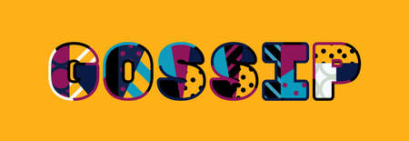The word GOSSIP concept written in colorful abstract typography.
