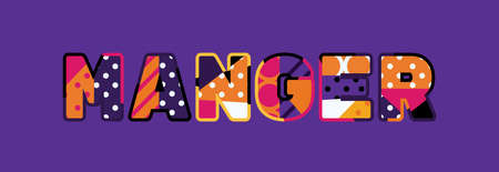 The word MANGER concept written in colorful abstract typography. Ilustracja
