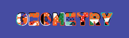 The word GEOMETRY concept written in colorful abstract typography.