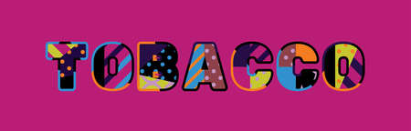 The word TOBACCO concept written in colorful abstract typography.