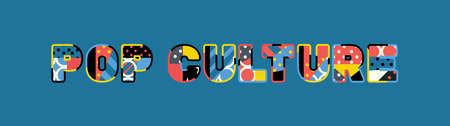 The words POP CULTURE concept written in colorful abstract typography. 向量圖像