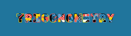 The word TRIGONOMETRY concept written in colorful abstract typography.