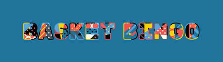 The words BASKET BINGO concept written in colorful abstract typography. Иллюстрация