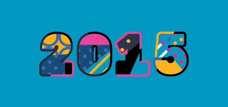 The year 2015 concept written in colorful abstract typography. Ilustração