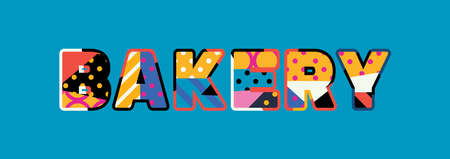 The word BAKERY concept written in colorful abstract typography.
