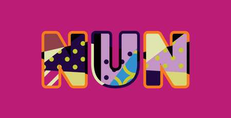 The word NUN concept written in colorful abstract typography. Illusztráció
